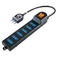 Multipresa 10/16a 2p+T 6 Prese Con Interruttore Nero