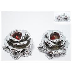 Rosa per Candela 2 Pezzi Colore Argento