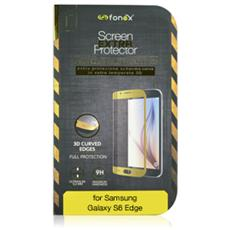 Vetro Temperato 3D Curvo Protezione Schermo da Bordo a Bordo 0,2 mm per Galaxy S6 Edge (1Pz) Colore Oro