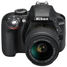 D3300 Nero Kit 18-55 VR AF-P + SD Lexar 8 GB Sensore CMOS DX 24Mpx Display 3'' Filmati Full HD Wi-Fi Ready