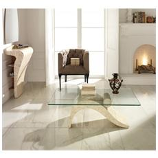 Tavolino Da Pranzo Realizzato In Pietra Fossile Con Piano In Vetro Dove Fs / 147 / wa / a