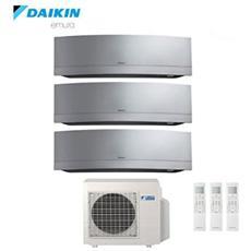 Climatizzatore Fisso Trialsplit Pompa di Calore 7000+9000+12000 Btu / h Inverter Emura Silver