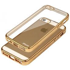 Cover Glossy In Silicone Con Bordino In Oro Per Apple Iphone 5 E 5s
