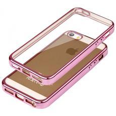 Cover Glossy In Silicone Con Bordino Rosa Per Apple Iphone 5 E 5s