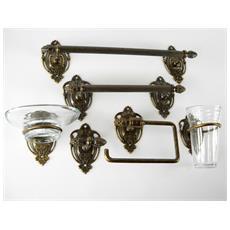 WC22 Set da bagno ottone brunito accessori da 6 pezzi
