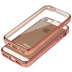 Cover Glossy In Silicone Con Bordino Rosa Dorato Per Apple Iphone 5 & 5s