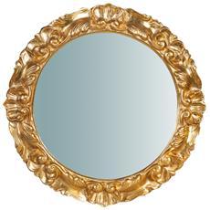 Specchiera Da Parete In Legno Finitura Foglia Oro Anticato Made In Italy L54xpr4,5xh54 Cm