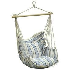 Sedia a dondolo 1 posto con telo in cotone colore bianco naturale / blu