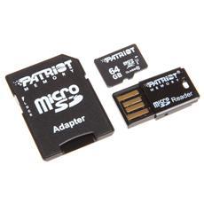 Memory microSDHC 64GB, 64 GB, Micro Secure Digital Extended Capacity (MicroSDXC) , 30 MB / s, Nero, CE / FCC, 1,09 cm