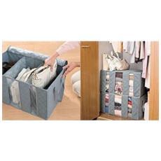 Organizzatore Armadio Porta Abiti Cambio Stagione 3 Scomparti Storage Box - Celeste