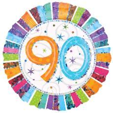 Palloncino Compleanno Mylar 90 Anni Radial 45 Cm *24253