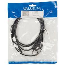 Valueline VLEP11240B20, Femmina / femmina, Rame, Nero, Cloruro di polivinile (PVC)