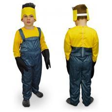 619359 Costume Carnevale Aiutante Giallo E Blu Da Bambino Da 3 A 12 Anni - 3/5 Anni