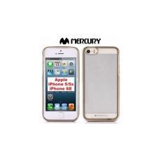 Custodia Gel Tpu Silicone Per Apple Iphone Se, 5s, 5 Trasparente Con Cornice Colore Oro Alta Qualita' Mercury Blister
