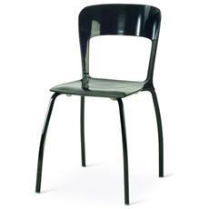 Sedia In Alluminio Laccato Colore Nero Abs Mod. young