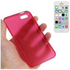 Custodia Ultra Sottile 0.3mm Per Iphone 5c Rosso Trasparente