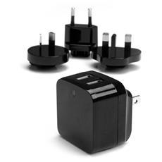 Caricabatterie da Muro a doppia porta x2 USB ad alta potenza (17W / 3.4 Amp) con prese da viaggio (Internazionale)