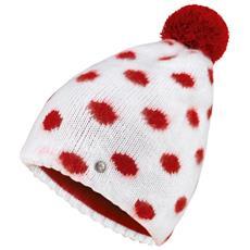 Cappello Lana Pois Unica Bianco Rosso