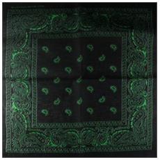 Sciarpa motivo Paisley 100% cotone nero / Verde