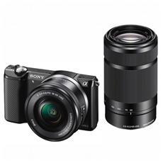 SONY - Alpha 5000 Nero Kit 16-50+55-210 mm Sensore CMOS APS Exmor 20 Mpx Display 3' Filmati Full HD NFC...