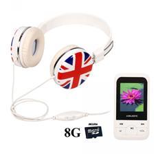 Lettore MP4 +SD 8GB + Cuffie Bandiera UK Display 1.8'' Sintonizzatore FM colore Bianco