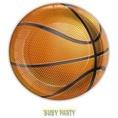 8 Piattini Tema Basket In Carta Ø 18 Cm