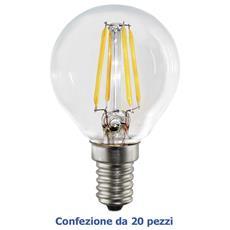 E14 4W, Confezione 20 X Lampada Sfera G45 A Filamento Led, Luce Calda 2700K, 360 Lumen