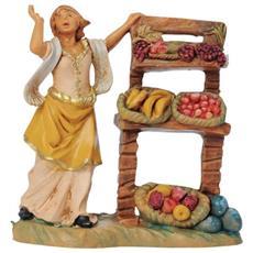 Pastorella Con Banco Frutta 6,5cm Presepe In Resina (f-216)