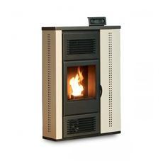 Stufa a Pellet Scozia Rivestimento in Acciaio Potenza Termica 10 KW 250 m3 riscaldabili Colore Beige