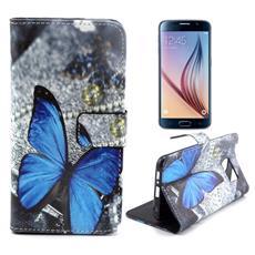 Custodia Portafogli Blue Farfalla per Samsung Galaxy S6 + Pellicola e Panno