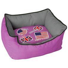 Cuccia Imbottita, comoda Per Cani Misure: 50x40xh25 Cm. Colore Fucsia