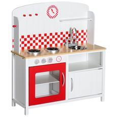 Cucina Giocattolo Per Bambini Con Accessori In Legno, Bianco E Rosso, 70x30x88cm