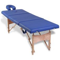 Lettino Pieghevole Da Massaggio Blu 4 Zone Con Telaio Legno