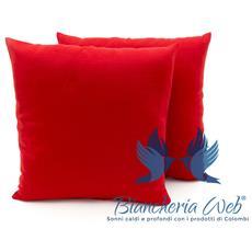 Coppia Cuscini Arredo Imbottiti Tessuto Ottoman In Tinta Unita Colore Rosso 20 50x50 Rosso 20