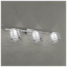 Lampada Da Parete Led 3xg9 Metallo Cromato L 36 X 17 Cm
