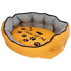 Cuccia Imbottita, comoda Per Cani Misure: 60x50xh21 Cm. Colore Giallo