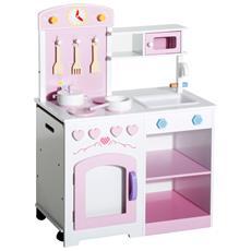 Cucina Giocattolo In Legno Per Bambini Con Sedia E Accessori, 60x35x87cm