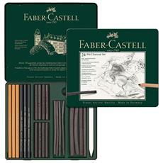 Faber Castell 112978 - Set Di 24 Elementi Matite E Carboncini Per Tecnica A Carboncino Per Artisti