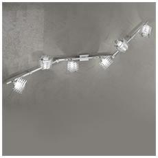 Lampada Da Parete Led 6xg9 Metallo Cromato L 135 X 18 Cm