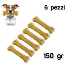 Delizioso Snack 6 Pz Per Cani Di Piccola E Media Taglia A Forma Di Osso In 100% Pelle Di Maiale Antistress
