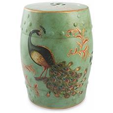 Deco Sgabello Pavone, Ceramica, Multicolore, 33 X 33 X 46 Cm