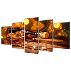 5 Pz Set Stampa Su Tela Da Muro Whiskey E Sigaro 200 X 100 Cm