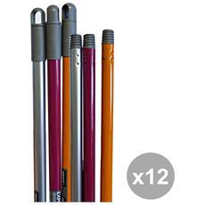 Set 12 Manico Universale Colorato 130 Cm. Art. 0039g Attrezzi Pulizie