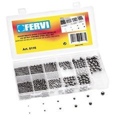 Serie Set Kit Assortimento 450 Sfere Palline D'acciaio Cromato Metriche Fervi