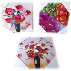 set di 3 tele dipinte 'humeur florale' tutti frutti (30x30 cm) - [ l7819]