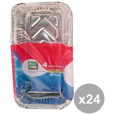 Set 24 Contenitore Alluminio 2 Porzioni Alto X 4 Pezzi Con Coperchio All Time G4 Contenitori Per La Cuci