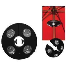 Lampada faretto a 4 led per ombrellone con palo 30-45 mm accessori