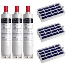 3 Filtri Acqua Sbs200 + 3 Filtri Antibatterico Microban Per Frigorifero Americano Side By Side