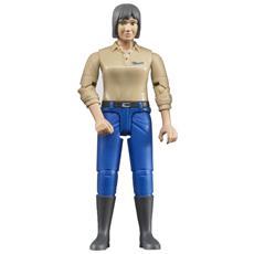 Donna Pelle Chiara con Jeans e Stivali Scala 1:16
