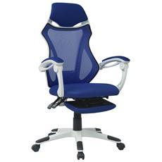 Sedia Ufficio Reclinabile Per Riposo Delle Gambe In Tessuto Bianco E Blu